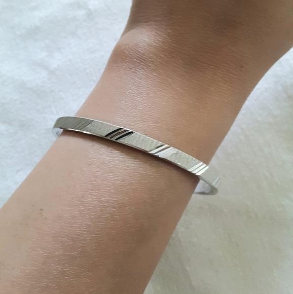 "Monet silver Bangle Bracelet 8"" inches"
